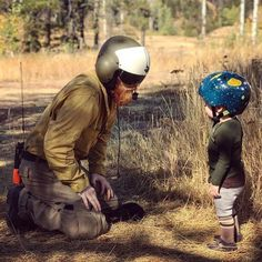 Everyone needs a hero but it's better when your hero is your dad. Dad Rocks, Wildland Firefighter, Kid Styles, Father And Son, Childhood, Dads, Hero, Photo And Video, Helmets