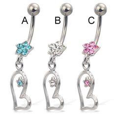 Jeweled flower navel ring with star on dangling asymmetric heart Heart Piercing, Navel Piercing, Body Piercing, Belly Rings, Belly Button Rings, Wholesale Body Jewelry, Gold Body Jewellery, Tongue Rings, Peircings