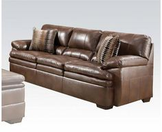 Devin Brown Bonded Leather Wood Sofa w/2 Pillows