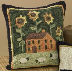 Hooked Rug Decorative Pillow