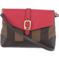 Pre-owned Fendi Pequin Mini Crossbody Bag ($625) ❤ liked on Polyvore featuring bags, handbags, shoulder bags, red shoulder bag, crossbody shoulder bags, canvas crossbody purse, cross-body handbag and mini purses