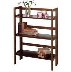 Basics 39-inch H Antique Walnut Folding Three Tier Bookshelf