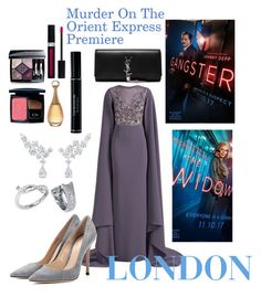 """""""MURDER ON THE ORIENT EXPRESS PREMIERE IN LONDON 2017"""" by andreamartin24601 on Polyvore featuring Harry Winston, Cartier, Georges Hobeika, Gianvito Rossi, Christian Dior and Yves Saint Laurent"""