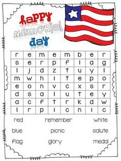 memorial day wordsearch for kindergarten