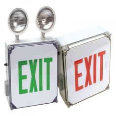 WET LOCATION RED LED EXIT SIGN COMBO