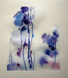 Original Watercolor Painting of Abstract Flowers. Purple Violet