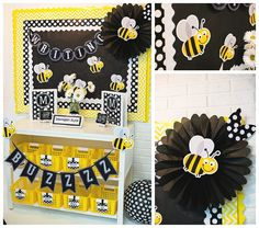 Black and White theme with various accent colors and how to incorporate it into you classroom (organize also) and add in various themes, ex: bees.