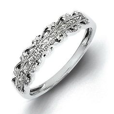 Rings 98477: Sterling Silver Diamond Band - Promise Ring BUY IT NOW ONLY: $86.95