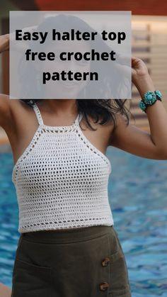 Diy Crochet Halter Top, Crochet Summer Dresses, Crochet Bikini Pattern, Crochet Summer Tops, Crochet Shirt, Easy Crochet, Crochet Patterns For Beginners, Free Crochet Top Patterns, Free Pattern