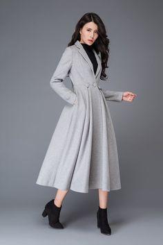 Light gray wool coat /Princess Coat /suit collar coat/ by YL1dress