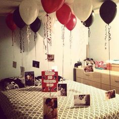 Nice 41 Romantic Valentine Bedroom Decor Ideas For Couples. Fathers Day Photo, First Fathers Day, Photo Ballon, Diy Valentines Gifts For Him, Valentine Ideas, Cute Surprises, Romantic Birthday, Birthday Decorations, Room Decorations