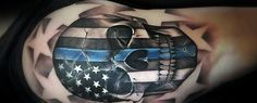 50 Thin Blue Line Tattoo Designs For Men - Symbolic Ink Ideas