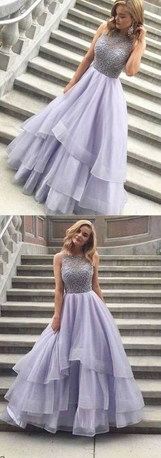A-line Scoop Floor-length Long Prom Dress Evening Dress Prom Dresses A-Line, Ivory Prom Dresses Bridesmaid Dresses 2018 homecoming Lavender Prom Dresses, Unique Prom Dresses, Pretty Dresses, Homecoming Dresses, Beautiful Dresses, Lavender Gown, Dress Prom, Graduation Dresses, Party Dress
