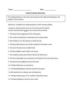 Simple Predicate Worksheets | Mreichert Kids Worksheets