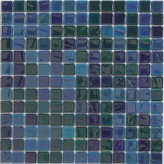 These glass tiles offer a broad display that is stunning and colorful, and that characterize a Pearl Ocean design. With shades of green and blue, these mosaic tiles make a definite statement and can create wonderful backdrops or bath details.