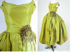 """Overall dress view and detail of """"Marjolaine, """" the quintessential robe de style of Lanvin. Apple green silk taffetas changeant is used to create an off-the-shoulder-drop-waist, full-skirted silhouette. 1920."""""""