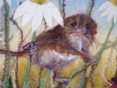 MarmaladeRose fibre art, wet and needle felted field mouse.