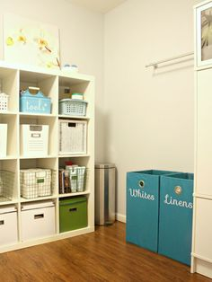ikea shelves in the laundry room/mudroom for additional storage; IHeart Organizing: IHeart My Home - Home Tour! Home Organisation, Organization Hacks, Organizing Ideas, Organising, Laundry Room Organization, Laundry Rooms, Laundry Baskets, Laundry Area, Laundry Storage