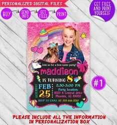 JoJo Siwa Birthday Invitation Printable, Personalized