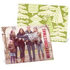 Christmas Cards - Merry Treescape Horizontal Photo