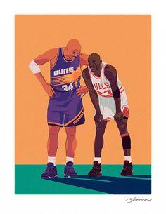 Charles Barkley & Michael Jordan by rtsimpson on Etsy