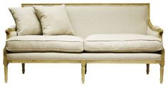 St. Germain French Country Natural Oak Louis XVI Natural Linen Sofa - transitional - Sofas - Kathy Kuo Home