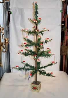 Antique Goose feather tree - 30 inches  tall - early 20th century (# 3911)
