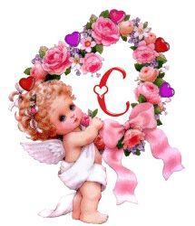 Alfabeto angelita con corazón de flores. | Oh my Alfabetos!