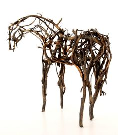 Deborah Butterfield assembles these striking horse sculptures using tree branches
