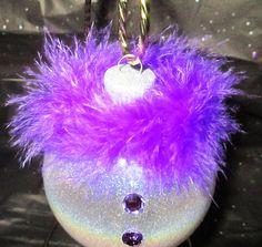 Glass Snowman Ornament in Purple Christmas by CreativeGlassByBecky, $7.95