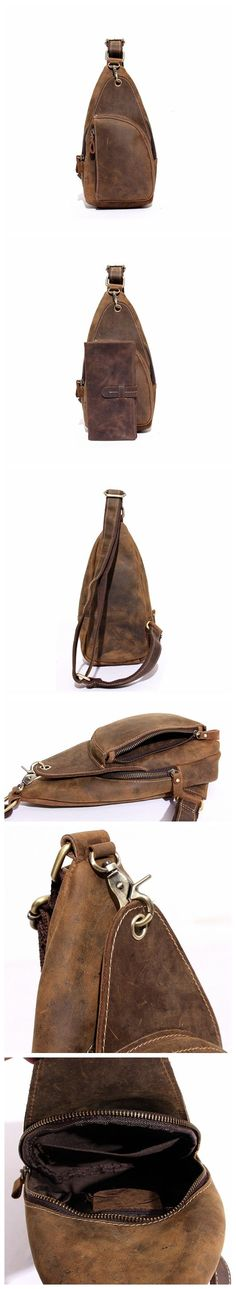 Handcrafted Genuine Leather Men Chest Bags Leisure Chest Pack Men Messenger Bags