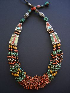 Sensational Tibetan Turquoise Coral & Amber Necklace