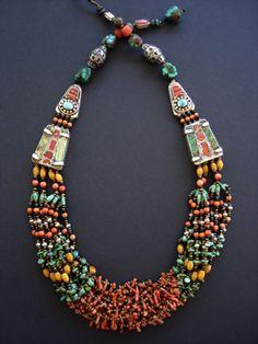 Sensational Tibetan Turquoise Coral& Amber Necklace