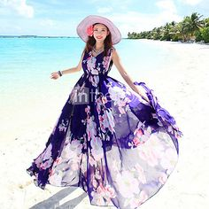 Women's+Sleeveless+Bohemian+Maxi+Swing+Holiday+Dress+-+AUD+$40.03