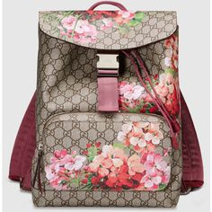 Gucci Gg Blooms Backpack ($1,350) ❤ liked on Polyvore featuring bags, backpacks, gucci, floral print canvas backpack, gucci backpack, canvas knapsack, brown canvas backpack and brown backpack