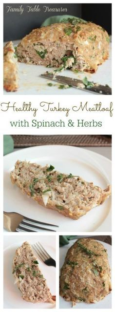 Healthy Turkey Meatloaf (with Spinach & Herbs) An easy weeknight meal that's good for you! This Healthy Turkey Meatloaf is mixed with Spinach & Herbs and just the right amount of seasoning to give you a mouthful of flavor in every bite! Healthy Recipes, Meat Recipes, Chicken Recipes, Cooking Recipes, Healthy Herbs, Healthy Dishes, Recipies, Healthy Options, Yummy Recipes