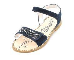 Primigi Gelsomino Sandalen für Mädchen aus blauem Nubukleder mit schicken Strasssteinen
