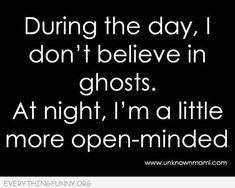 funny quote during the day i don't believe in ghosts at night i'm a little more open minded
