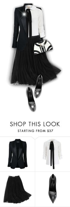 """""""Black & White!"""" by asia-12 ❤ liked on Polyvore featuring Tom Ford, Michael Kors, WithChic and Casadei"""