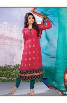 Fuchsia Faux Georgette Jacquard Churidar Kameez-1003  Now, place your Order now : Email:- raksha@silk-india.com