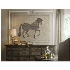 French Linen Horse and Script Graphic Art on Canvas | Wayfair