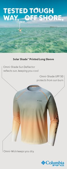 Go ahead, put yourself out there. Our Men's Solar Shade® Tee is equipped with Omni-Wick™ to keep you dry. Plus Omni-Shade™ UPF 50 and Sun Deflector™ to keep you protected. Offshore is officially on.