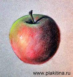 Как нарисовать яблоко пастелью (шаг №6)