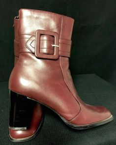 991f6a39b9b Rust Color Leather Women s Mid Calf Boot Wide Buckle Zipper S-104