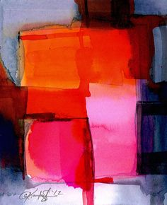 Abstraction Series . 201 ... Original abstract watercolor art painting by Kathy Morton Stanion