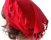 Under 15 - Red Cotton Scarf - Headband - Bandana