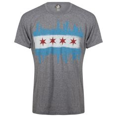 Chicago Mens Grey Bleeding Skyline Chicago Flag Tri-Blend Tee by Target Graphics Ltd Chicago Shirts, The Second City, Chicago Skyline, Vintage Looks, Two By Two, Tee Shirts, Flag, Grey, Mens Tops