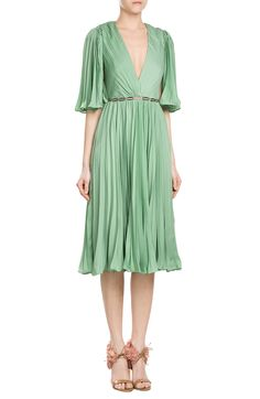 df4e90f7d6be Pleated Dress with Sheer-Insert Belt look detail Textiles