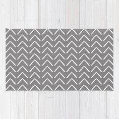 Soft WOVEN AREA RUG Dark Gray Big White Abstract ZigZag by EMEREY