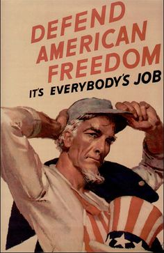 """Vintage American WW2 Poster """"Defend American Freedom"""""""